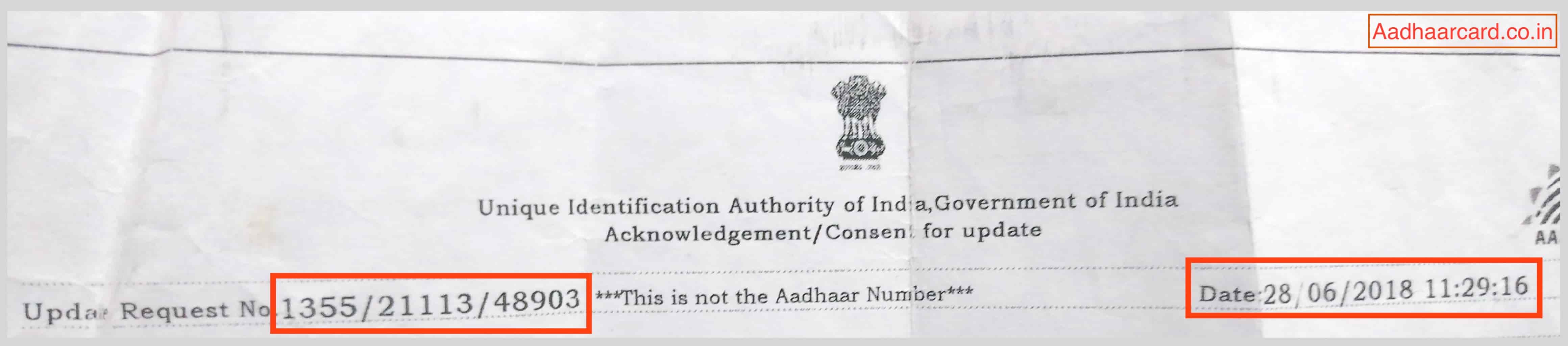 Aadhaar Enrollment Number and Date Time in Acknowledgement Slip