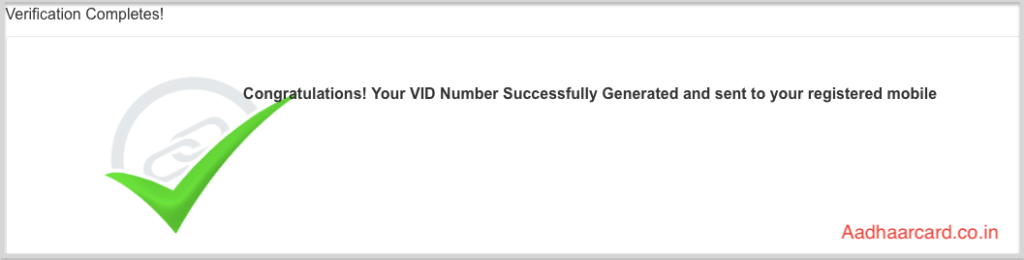 Congratulations! Your VID Number Successfully Generated and sent to your registered mobile