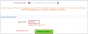 Download Aadhaar Card by TOTP in UIDAI