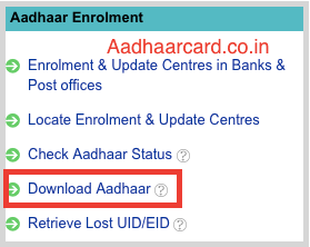 Download Aadhaar Card from UIDAI