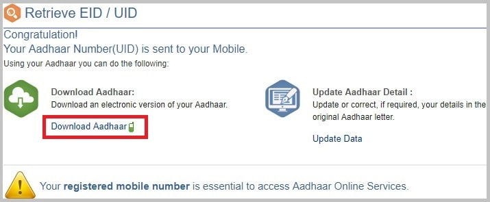 Download Lost Aadhaar Card from UIDAI