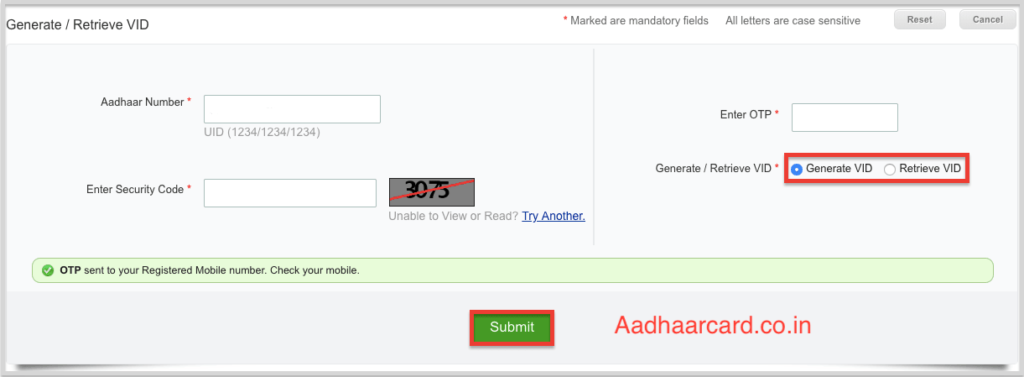 Enter OTP and Generate VID in Aadhaar Card