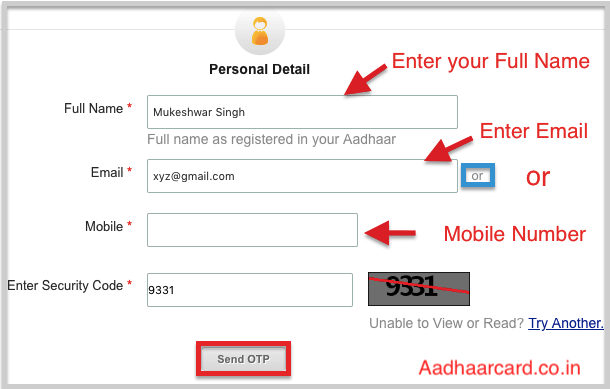 Enter Personal Data for Downloading Your Aadhaar With Name and Date of Birth