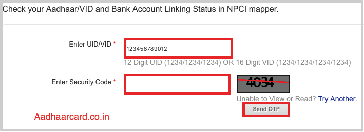 Enter UID and Security code for Checking link status with Bank