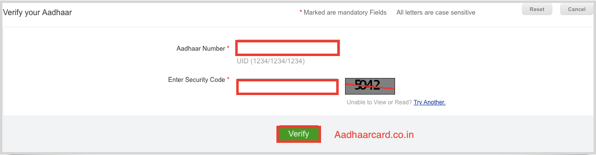 Enter your Aadhaar Number for Verification of Aadhaar number