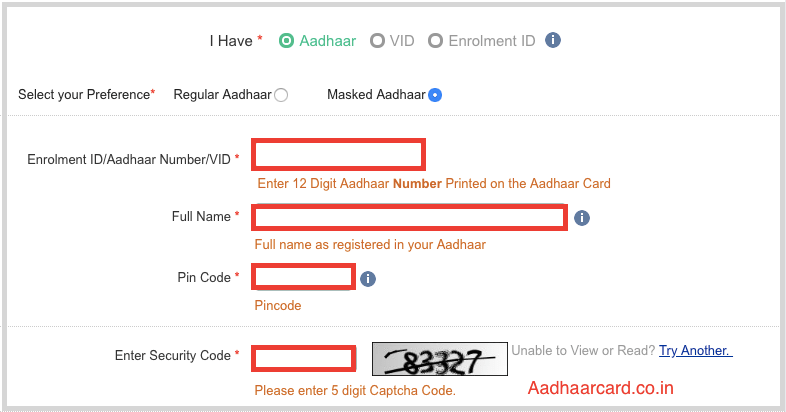 Write your Information for Download Aadhaar Card