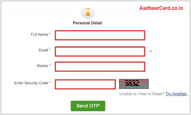 Enter your information for Retrieving your Aadhaar Enrolment Number