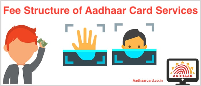 Fee Strucutre of Aadhaar Card Services