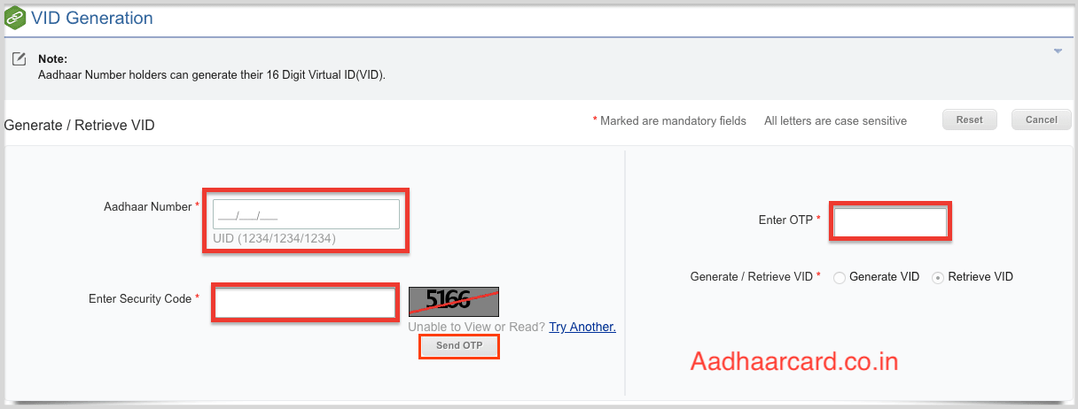 Generate Retrieve VID options in UIDAI