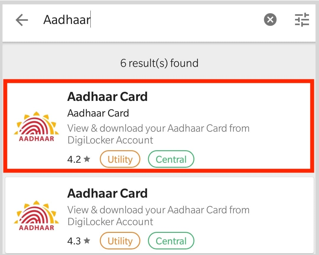 Search Aadhaar In Umang for Download it