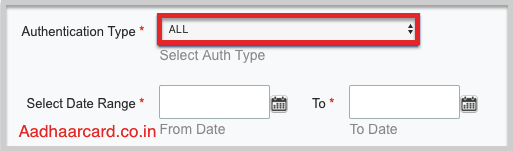 Select Aadhaar Authentication Type as All