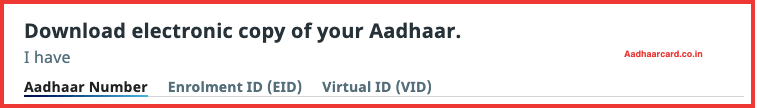 Picture of Selecting Aadhaar Number for Download Aadhaar Card