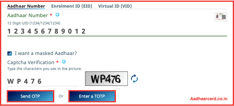 Clicking on Send OTP or Enter a TOTP to donwload aadhaar card
