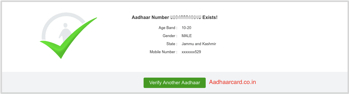 Your Aadhaar Card is verified in UIDAI