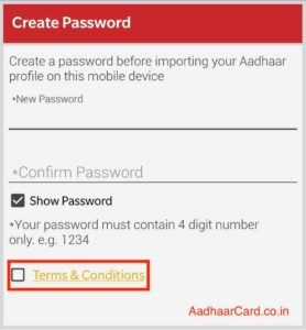 Enter password to Import your Aadhaar Card in mAadhaar