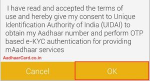 Read and Accept the mAadhaar Consent from mAadhaar App