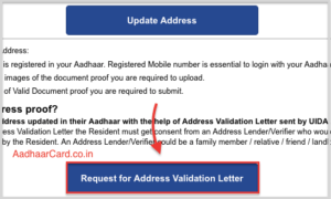 Request for Address Validation Letter in Aadhar