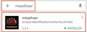 Search for mAadhaar in Google Play Store