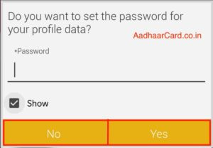 Set the Password for Sharing e-Kyc from mAadhaar