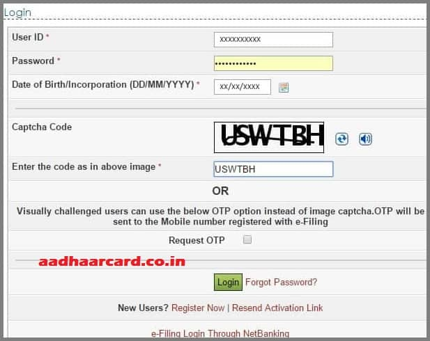 link aadhaar card with pan card step 1